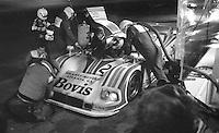 The #28 Nimrod-Aston Martin C2 of Ray Mallock, Drake Olson , and John Sheldon makes a pit stop  on its way to a 16th place finish in the SunBank 24 at Daytona, Daytona International Speedway, Daytona Beach, FL, Feb. 4-5, 1984. (Photo by Brian Cleary/www.bcpix.com)