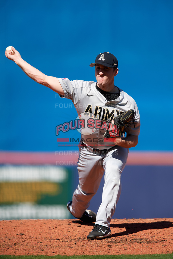 Army West Point starting pitcher Matt Ball (34) delivers a pitch during a game against the Michigan Wolverines on February 17, 2018 at First Data Field in St. Lucie, Florida.  Army defeated Michigan 4-3.  (Mike Janes/Four Seam Images)