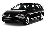 2018 Volkswagen Golf SportWagen SE 5 Door Wagon angular front stock photos of front three quarter view