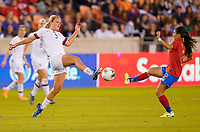 HOUSTON, TX - FEBRUARY 03: Lindsey Horan #9 of the United States battles with Gabriela Guillen #2 of Costa Rica during a game between Costa Rica and USWNT at BBVA Stadium on February 03, 2020 in Houston, Texas.