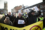 "© Joel Goodman - 07973 332324 . 26/11/2016 . Bolton , UK . Anti-mosque demonstrators march from Bolton station to Victoria Square . Approximately 100 people attend a demonstration against the construction of mosques in Bolton , under the banner "" No More Mosques "" , organised by a coalition of far-right organisations and approximately 150 anti fascists opposing the demonstration , in Victoria Square in Bolton Town Centre . Photo credit : Joel Goodman"