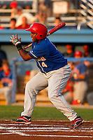 Auburn Doubledays second baseman Carlos Alvarez #4 during a game against the Batavia Muckdogs at Dwyer Stadium on August 27, 2011 in Batavia, New York.  Batavia defeated Auburn 7-5.  (Mike Janes/Four Seam Images)
