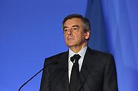 FRANCOIS FILLON, CONFERENCE DE PRESSE POUR LA PRESENTATION DE SON PROGRAMME A LA PRESIDENTIELLE, PARIS, FRANCE, LE 13/03/2017.