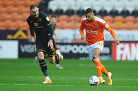 Blackpool's CJ Hamilton under pressure from Milton Keynes Dons' Richard Keogh<br /> <br /> Photographer Kevin Barnes/CameraSport<br /> <br /> The EFL Sky Bet League One - Blackpool v Milton Keynes Dons - Saturday 24 October 2020 - Bloomfield Road - Blackpool<br /> <br /> World Copyright © 2020 CameraSport. All rights reserved. 43 Linden Ave. Countesthorpe. Leicester. England. LE8 5PG - Tel: +44 (0) 116 277 4147 - admin@camerasport.com - www.camerasport.com