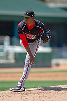Lake Elsinore Storm starting pitcher Ronald Bolanos (16) follows through on his delivery against the Rancho Cucamonga Quakes at LoanMart Field on May 28, 2018 in Rancho Cucamonga, California. The Storm defeated the Quakes 8-5.  (Donn Parris/Four Seam Images)