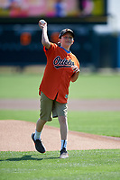 A young fan throws out the ceremonial first pitch before a Baltimore Orioles Grapefruit League Spring Training game against the Tampa Bay Rays on March 1, 2019 at Ed Smith Stadium in Sarasota, Florida.  Rays defeated the Orioles 10-5.  (Mike Janes/Four Seam Images)