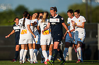 Western New York Flash forward Samantha Kerr (4) celebrates scoring with teammates. The Western New York Flash defeated Sky Blue FC 3-0 during a National Women's Soccer League (NWSL) match at Yurcak Field in Piscataway, NJ, on June 8, 2013.
