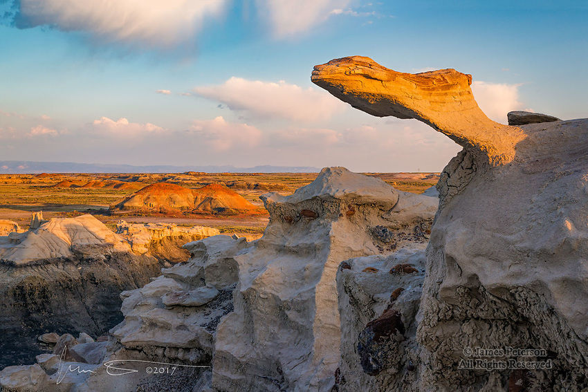 The Camelhead at Sunrise, Bisti Badlands ©2017 James D Peterson.  This supernatural creature is keeping an eye on the coal beds, canyons, orange hills, and distant mountains from atop a white ridge in this otherworldly wilderness area.