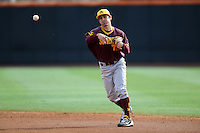 Arizona State Sun Devils second baseman James McDonald #7 throws to first after fielding a grounder during a game against  the Tennessee Volunteers at Lindsey Nelson Stadium on February 23, 2013 in Knoxville, Tennessee. The Volunteers won 11-2.(Tony Farlow/Four Seam Images).