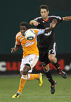 Branko Boskovic #27 of D.C. United pushes into Lovel Palmer #22 of the Houston Dynamo during an MLS match at RFK Stadium in Washington D.C. on September  25 2010. Houston won 3-1.