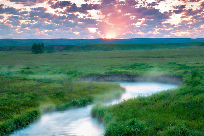 Sunrise with Prairie Creek. Wallow County, Oregon