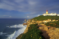 AJ0867, Portugal, Lighthouse on Cabo da Roca Europe's Westernmost Point on the Atlantic Ocean.