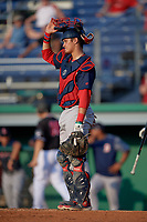 Lowell Spinners catcher Jaxx Groshans (12) during a NY-Penn League game against the Batavia Muckdogs on July 10, 2019 at Dwyer Stadium in Batavia, New York.  Batavia defeated Lowell 8-6.  (Mike Janes/Four Seam Images)