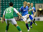 Hibs v St Johnstone...28.09.11   SPL Week.Liam Craig is closed down by Richie Towell.Picture by Graeme Hart..Copyright Perthshire Picture Agency.Tel: 01738 623350  Mobile: 07990 594431