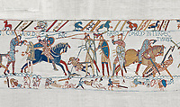 Bayeux Tapestry scene 57: King Harold is killed by an arrow in his eye as he looses the Battle of Hastings.  BYX57
