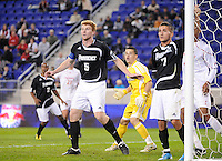 Bryan Minogue (5) and Matt Marcin (7) of the Providence Friars. The Providence Friars defeated the Cincinnati Bearcats 2-1 during the semi-finals of the Big East Men's Soccer Championship at Red Bull Arena in Harrison, NJ, on November 12, 2010.