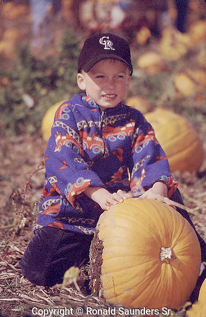 BOY PICKS HIS PUMPKIN AT FALL PUMPKIN PATCH FESTIVAL