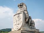 Lion's head shield at the entrance of the historic fortress of Tsarevets, Veliko Tarnovo, Bulgaria