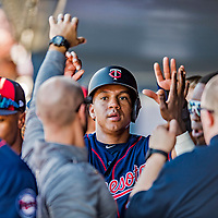 2 March 2019: Minnesota Twins infielder Ehire Adrianza returns to the dugout after scoring a run during a Spring Training game against the Washington Nationals at the Ballpark of the Palm Beaches in West Palm Beach, Florida. The Twins fell to the Nationals 10-6 in Grapefruit League play. Mandatory Credit: Ed Wolfstein Photo *** RAW (NEF) Image File Available ***