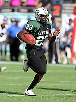 Miami Central Rockets running back Dalvin Cook #23 runs upfield on a 67 yard touchdown run during the second quarter of the Florida High School Athletic Association 6A Championship Game at Florida's Citrus Bowl on December 17, 2011 in Orlando, Florida.  The score at halftime is Armwood 16 - Miami Central 14.  (Mike Janes/Four Seam Images)