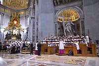 Members of Sydney's St Mary's Cathedral College Choir, Australia ,Sistine Chapel Choir perform prior to the arrival of Pope Francis to celebrate a Pentecost mass, in St. Peter's Basilica, at the Vatican, Sunday, May 20, 2018.