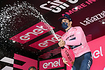 Race leader Filippo Ganna (ITA) Ineos Grenadiers retains the Maglia Rosa at the end of Stage 3 of the 2021 Giro d'Italia, running 190km from Biella to Canale, Italy. 10th May 2021.<br /> Picture: LaPresse/Gian Mattia D'Alberto | Cyclefile<br /> <br /> All photos usage must carry mandatory copyright credit (© Cyclefile | LaPresse/Gian Mattia D'Alberto)