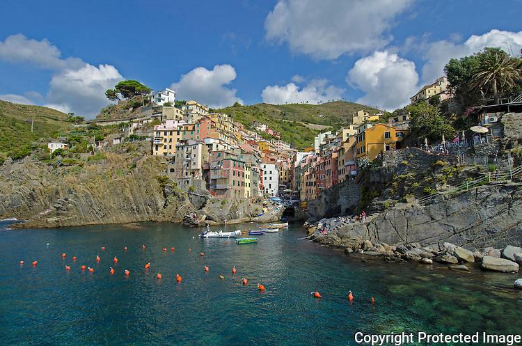Town of Riomaggiore in Italian riviera