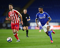 16th March 2021; Cardiff City Stadium, Cardiff, Glamorgan, Wales; English Football League Championship Football, Cardiff City versus Stoke City; Leandro Bacuna of Cardiff City and Tommy Smith of Stoke City race for the ball
