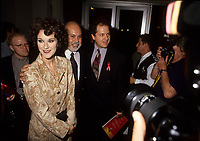 Montreal (Qc) CANADA - circa 1993 file photo of Rene Angelil (M), manager of singer Celine Dion (L), Mario Lefebvre from Sony Music (R) arrive at ADISQ Gala