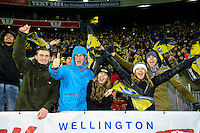 Fans celebrate after winning the Super Rugby Final between The Hurricanes and The Lions at Westpac Stadium, Wellington, New Zealand on Saturday, 6 August 2016. Photo: Marco Keller / lintottphoto.co.nz