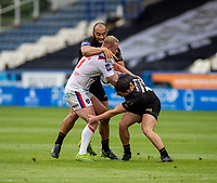 22nd August 2020; The John Smiths Stadium, Huddersfield, Yorkshire, England; Rugby League Coral Challenge Cup, Catalan Dragons versus Wakefield Trinity; Joe Westerman of Wakefield Trinity is tackled by Matt Whitley and Sam Kasiano of Catalan Dragons