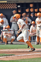 Tennessee Volunteers center fielder Derek Lance (17) swings at a pitch during game one of a double header against the UC Irvine Anteaters at Lindsey Nelson Stadium on March 12, 2016 in Knoxville, Tennessee. The Volunteers defeated the Anteaters 14-4. (Tony Farlow/Four Seam Images)