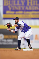 Binghamton Rumble Ponies second baseman Luis Guillorme (3) waits for a throw during a game against the Akron RubberDucks on May 12, 2017 at NYSEG Stadium in Binghamton, New York.  Akron defeated Binghamton 5-1.  (Mike Janes/Four Seam Images)