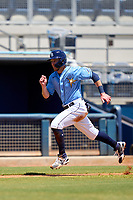 FCL Rays Mike Brosseau (43), on rehab assignment from the Tampa Bay Rays, scores a run during a game against the FCL Twins on July 20, 2021 at Charlotte Sports Park in Port Charlotte, Florida.  (Mike Janes/Four Seam Images)