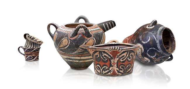 Minoan Kamares Ware vessels  with  polychrome decorations, Phaistos Palace 1800-1600 BC; Heraklion Archaeological  Museum, white background.<br /> <br /> This style of pottery is named afetr Kamares cave where this style of pottery was first found