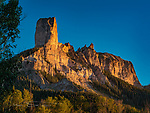 Chimney Rock, near Owl Creek Pass, Colorado ©2017 James D Peterson.  This rugged peak, in the Cimarron Range of the northern San Juan Mountains and not to be confused with many other peaks and spires of the same name, is well situated to capture the glow of the setting sun.  It is in Ouray County, east of Ridgeway, Colorado.