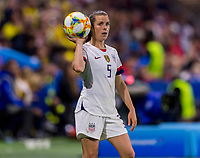 LE HAVRE,  - JUNE 20: Kelley O'Hara #5 throws the ball in during a game between Sweden and USWNT at Stade Oceane on June 20, 2019 in Le Havre, France.