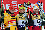 HOLMENKOLLEN, OSLO, NORWAY - March 16: Winner podium of the 19th FIS Nordic Combined World Cup Competition on March 16, 2013 in Oslo, Norway. (C) 1st place Jason Lamy Chappuis of France (FRA), (L) 2nd place Eric Frenzel of Germany (GER) and (R) 3rd place Wilhelm Denifl of Austria (AUT).  (Photo by Dirk Markgraf)