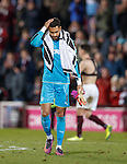 An unhappy Wes Foderingham at full-time