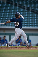 AZL Brewers catcher Caleb Marquez (57) follows through on his swing during an Arizona League game against the AZL Cubs 1 at Sloan Park on June 29, 2018 in Mesa, Arizona. The AZL Cubs 1 defeated the AZL Brewers 7-1. (Zachary Lucy/Four Seam Images)
