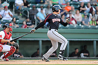 Infielder Trey Michalczewski (27) of the Kannapolis Intimidators bats in a game against the Greenville Drive on Friday, April 11, 2014, at Fluor Field at the West End in Greenville, South Carolina. The Greenville catcher is Jake Romanski. Michalczewski is the No. 19 prospect of the Chicago White Sox, according to Baseball America.  (Tom Priddy/Four Seam Images)