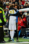 Luka Modric (L) and Marcelo Vieira (R) of Real Madrid celebrate goal during La Liga match between Real Madrid and Real Sociedad at Santiago Bernabeu Stadium in Madrid, Spain. November 23, 2019. (ALTERPHOTOS/A. Perez Meca)