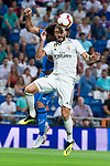 Real Madrid Karim Benzema and Getafe CF Amath Ndiaye during La Liga match between Real Madrid and Getafe CF at Santiago Bernabeu in Madrid, Spain. August 19, 2018. (ALTERPHOTOS/Borja B.Hojas)