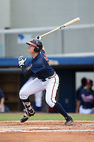 Ryan O'Malley (13) of the Danville Braves follows through on his swing against the Pulaski Yankees at American Legion Post 325 Field on July 31, 2016 in Danville, Virginia.  The Yankees defeated the Braves 8-3.  (Brian Westerholt/Four Seam Images)