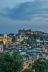 Europe, Great Britain, Scotland, Edinburgh, Edinburgh Castle From Calton Hill at Dusk