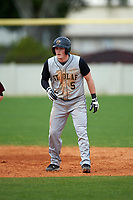 St. Olaf Oles third baseman Jake Mathison (5) during the first game of a doubleheader against the Union Dutchmen on February 20, 2016 at Lake Myrtle Park in Auburndale, Florida.  Union defeated St. Olaf 7-2.  (Mike Janes/Four Seam Images)