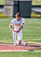 9 April 2021: University of Vermont Catamount Men's Soccer Defender Evan Rouleau, a Junior from Burlington, VT, takes a moment prior to facing the University of New Hampshire Wildcats at Virtue Field in Burlington, Vermont. The Catamounts fell to the visiting Wildcats 2-1 in America East, Division 1 play. Mandatory Credit: Ed Wolfstein Photo *** RAW (NEF) Image File Available ***