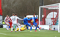 7th February 2021; Fountain of Youth Stadium Hamilton, South Lanarkshire, Scotland; Scottish Premiership Football, Hamilton Academical versus Rangers; Brian Easton of Hamilton Academical turns the ball into his own net making it 1-0 to Rangers in the 80th minute with an own goal