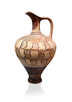 Minoan decorated jug with geometric design , Zafer Papoura 1400-1250 BC; Heraklion Archaeological Museum, white background