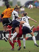 June 26, 2005; Virginia Beach, VA, USA;  Canada's Karina LeBlanc (1) tries to punch the ball away from USWNT forward Danielle Fotopoulos (22)  at the Virginia Beach SportsPlex.